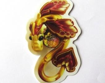 Gold Dragon Sticker, Vinyl Sticker Original Artwork