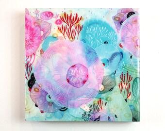 Reef - Resin-Coated Art Print on Wood Panel 10x10