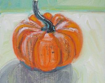 September Pumpkin original still life fall painting by Polly Jones