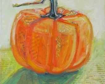 Golden LIght Pumpkin original still life fall painting by Polly Jones