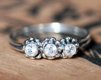 Three stone ring, 3 stone ring, birthstone ring, promise ring, white topaz ring, 3 stone mothers ring, anniversary ring, crush size 9.25