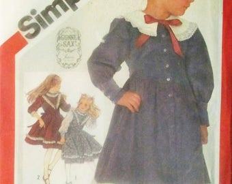 60% OFF SALE 1980s Vintage Sewing Pattern Simplicity 6092 Childs Dress Pattern Size 5 Uncut