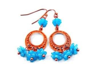 Flower Earrings, Blue Blossoms, Copper Dangle Hoop Earrings, FREE Shipping U.S.
