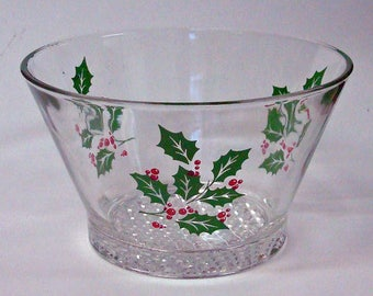 1950's Glass Christmas Bowl Holly Vintage Mid Century