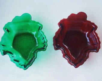 Royal Ruby Forest Green Anchor Hocking Maple Leaf Dishes Christmas