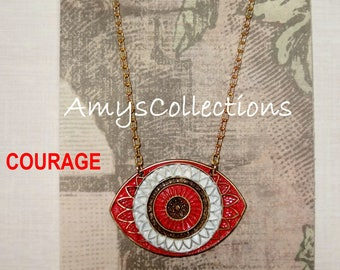 MANDALA (COURAGE) EYE, Hand-painted, Delicate Solid Brass Chain Necklace (Red)