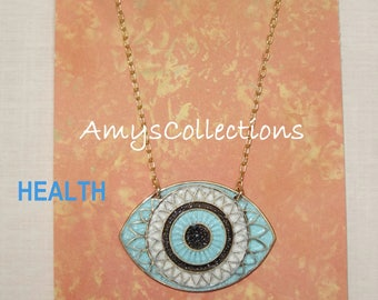 MANDALA (HEALTH) EYE, Hand-painted, Delicate Solid Brass Chain Necklace (Turquoise)