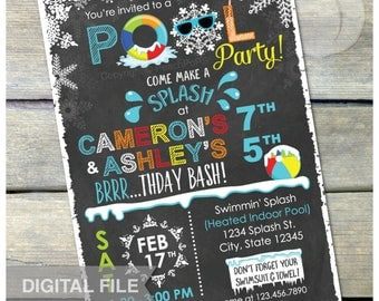 "Joint Winter Pool Birthday Party Chalkboard Invitation Snow Indoor Pool Party - Boy Girl Twins Siblings - DIGITAL Printable Invite - 5"" x 7"""