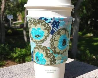 FREE SHIPPING UPGRADE with minimum -  Fabric coffee cozy / cup sleeve / coffee drink sleeve / Chrysanthemum