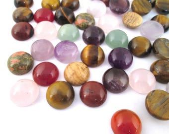2  12mm round assorted gem stone cabochons,  mixed color cabs