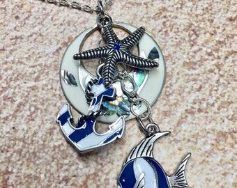 Sterling Silver Abalone Beach Seaside Charm Bracelet