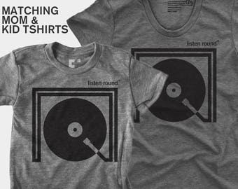 SALE! Matching Mom Daughter Listen Round TShirt | Mommy and Me | Mother Son Matching Shirt | Matching Mom Baby | DJ Gift | Gift for Mom