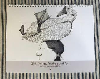 2018 Wall CALENDAR Girls, wings, feathers and fur. 2018 wall art calendar.