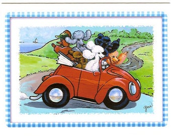 Poodle Red Vintage Convertible Car Note Cards Set of 6 with Envelopes