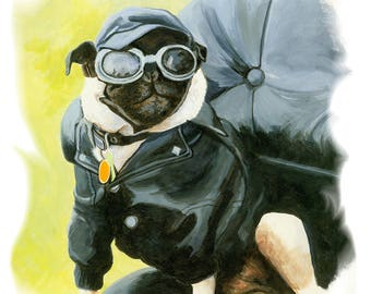 Pug Dog Biker in Leather Note Card with Envelope