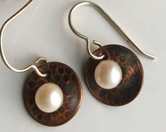 Copper and Freshwater Pearl Earrings, Textured Copper, Pearl Earrings, Metalwork Earrings, Etsy, Etsy Jewelry