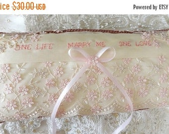 On Sale Ivory & Peachy Pink Marriage Proposal-Marry Me-Ring Pillow Lace-Me-Proposal Pillow-OOAK--Ring Bearer-Romantic-Vintage Lace