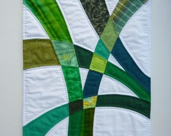 "Green and White Abstract Textile Wall Hanging - ""Greenery #1"" -  Foliage, Plants"