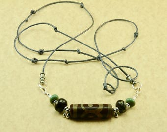 Handmade by Me Old Tibetan Agate Dzi Bead Focal Amulet Necklace with Handmade Lampwork