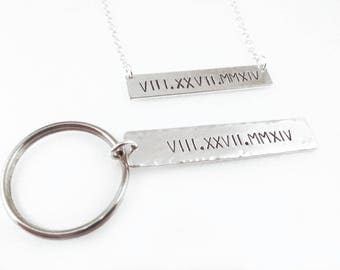 Personalized Couples Gift Set Keychain for Him Necklace for Her