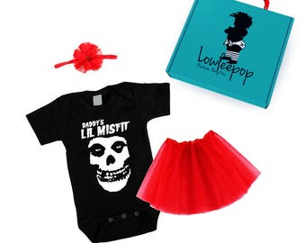 ROCKSTAR BABY KIT Daddy's Little Misfit black onesie, red tutu, bow & optional gift box