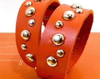 Bright Orange Leather Dog Collar with Zig Zag Silver Studs, Size M, Medium Dog, to fit a 14-17 Neck, Eco Friendly Reclaimed Leather, OOAK