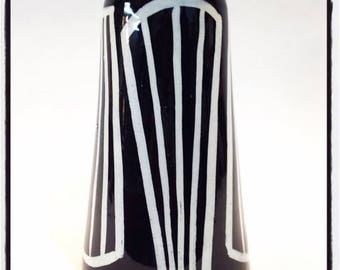 June sale Tapered Cone Vase with graphic black and white pattern. Perfect for a large bouquet of flowers.