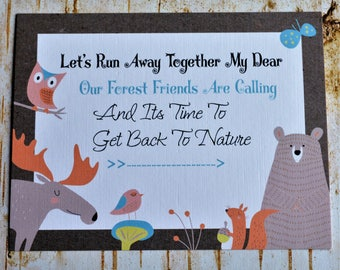 Animal Cards, Animal Postcards, Forest Animals, Paper Products, Postcard Set, Moose Cards, Bear Cards, Owl Cards, Animal Stationery, Tribal
