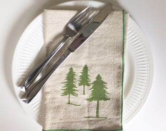 Three Evergreen Trees Handmade Block Printed Napkin Set of Four,For the table top, Home essentials, Sewn by the maker