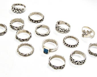 Wholesale Vintage 925 Sterling Silver Rings 14 piece lot 38 grams NEW Sizes 4 to 5-1/2