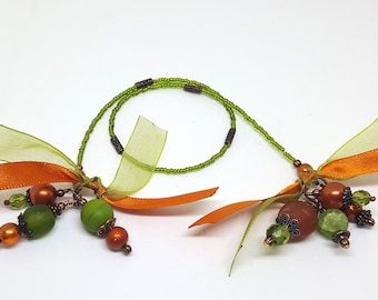 Copper Accented Recycled African Glass Beaded Bookmark Book Thong Olive Green Orange
