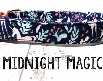 "Modern & Whimsical Dark Blue Unicorn Bunny Floral Dog Collar - Antique Metal Hardware - ""Midnight Magic"""