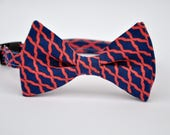 Navy and Coral Boy's Bow Tie Bowtie Toddler Tie Ready To Ship