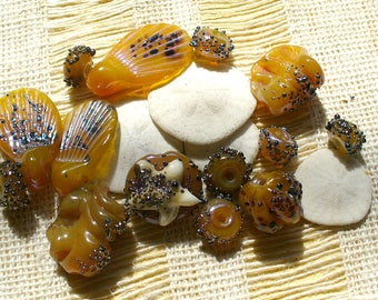 Lampwork beads/glass beads/sra lampwork/beach/shells/ocean/tidepool/honey gold/