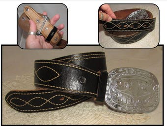 Vintage Wide Black Leather Belt with White Stitching and Large Removable Silvertone Western Buckle, western, cowboy