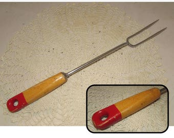 Vintage Wood Handle Serving Carving Fork with Red End, 2 Prong Meat Fork by Androck, 50s, Chrome plated, kitchen utensil