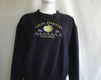 Closing Shop 40%off SALE San Diego California  Sweatshirt    moon sun   size Medium M
