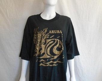 40% off SALE ARUBA Tropical Fish t-shirt,  Fish ocean sea t shirt,  80s vintage t shirt, Glitter t shirt, Black vintage t shirt