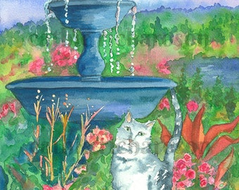 White Cat Garden Fountain Watercolor Painting
