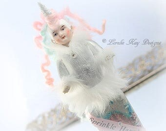 Sprinkle Happiness Unicorn Art Doll Altered Glitter Bottle One-of-a-Kind Doll Lorelie Kay Original