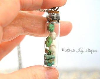 Frozen Charlotte  Gemstone Bottle Turquoise Stone Soldered Doll in Bottle Necklace Tiny Frozen Charlotte Doll Lorelie Kay Designs Original