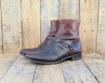 1960s, Mens Ankle Boots, Us 10, Uk 9.5, Eu 44, Beatle Boots, Leather Dress Boots, Harness Ankle Boots, Chelsea Boots, USA MADE, Man Boot 10,