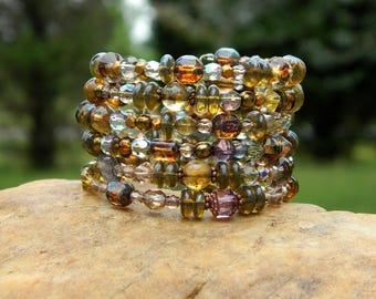 Gold and Amber Czech Bead Boho Bangle