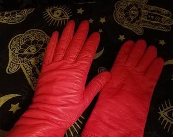 30% OFF Vintage Grandoe Ladies Bright Red Real Leather Gloves Size 7 1/2