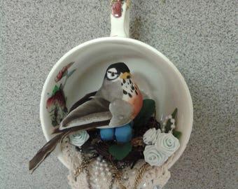 Teacup Tea Cup Bird Robin Christmas Ornament