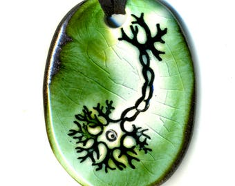 Multipolar Neuron Ceramic Necklace in Green Crackle with Bronze