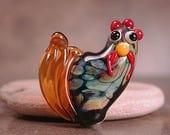 Lampwork Chicken Bead, Artisan Lampwork Glass Rooster Focal Bead,  Whimsical Lampwork, Divine Spark Designs, SRA