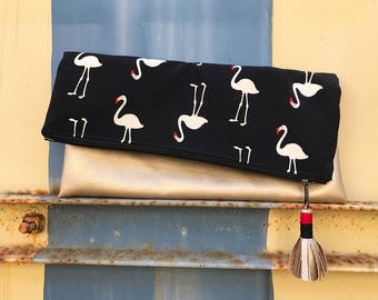 Large Fold Over Clutch - Flamingos
