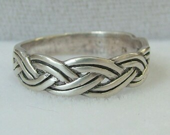 Vintage Sterling Silver Ring, sz 11, ca 1970 NT-03