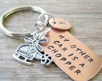 Helicopter Keychain, My Other Car is a Helicopter, My other car is a Chopper keychain, chopper pilot, aviator gift, helicopter pilot gift